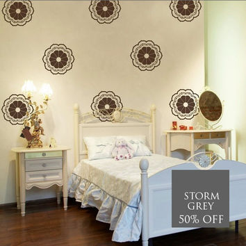 SALE- 50% Off STORM GREY Moroccan Flower Graphics- 10 Decals, Vinyl Wall Decals, Wall Graphics, Wallpaper, Stickers, item 10005