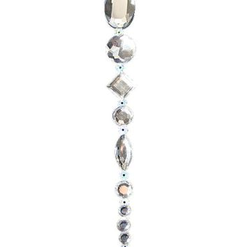 ONETOW 8' Beaded Jewel Clear Silver Icicle Drop Christmas Ornament
