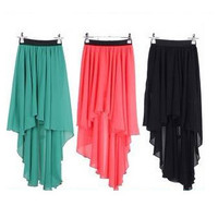 070103 Irregular hem chiffon fishtail skirts