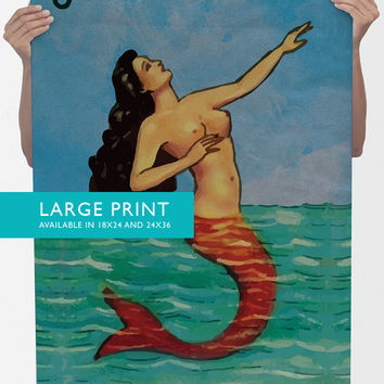Loteria La Sirena Mexican Retro Illustration Art Print 18x24, 24x36 Vintage Giclee Poster Wall Decor on Cotton Canvas and Satin Photo Paper