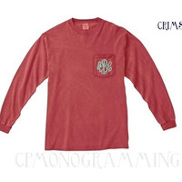 Monogrammed Long Sleeve Pocket Tee Shirt- Comfort Colors