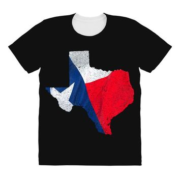 Eroded Texas Map With Flag All Over Women's T-shirt