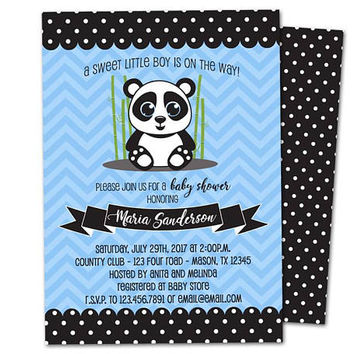 Boy Panda Baby Shower Invitation - Little Panda Baby Shower Invites - Chevron Polka Dots - Blue Panda Bear Invitations - Boy on the Way