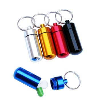 Colorful Aluminum Drug Holder Pill Box Case Container Keychain Storage Waterproof Outdoor Camping Travel Pillbox