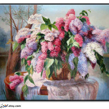 "24"" Impression Floral Oil Painting,  Blooming Flowers, Oil On Linen Canvas, By Frank."
