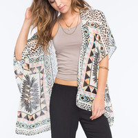 Full Tilt Mixed Print Womens Kimono Multi  In Sizes