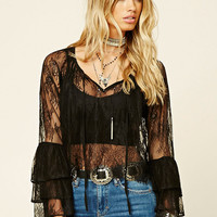 Bell-Sleeve Eyelash Lace Top
