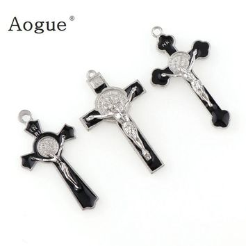 INRI Crucifix Black Enamel Saint Benedict Medal Cross Religious Pendants and Black Rope Wire Cross Pendants Necklace 45cm