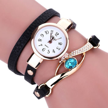 Duoya Ladies' Fashion Watches Eye Gemstone Luxury Watches Women Gold Bracelet Watch Female Quartz Wristwatches Montre Feida