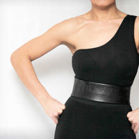 Black wide leather look flat high waist belt-elastic back snap closure