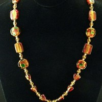 Various Shades of Copper Dichroic Heart Beads Handmade Necklace