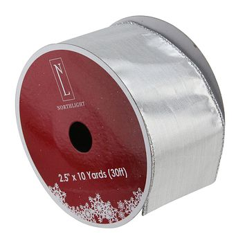 """Pack of 12 Solid Silver Wired Christmas Craft Ribbon Spools - 2.5"""" x 120 Yards Total"""