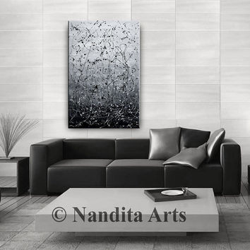 Acrylic Modern Art, Black and Gray Abstract Painting, Abstract Wall Art, Oil Painting, Contemporary Art Home Decor Wall Hanging - Nandita