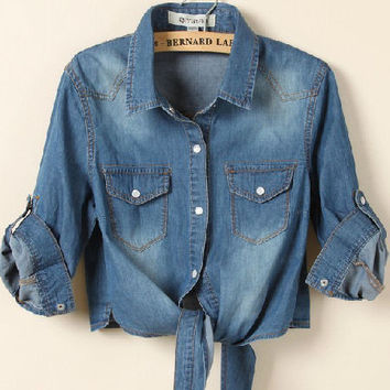 Iconic Vintage 50's Denim Knot Crop Top - 2 Washes