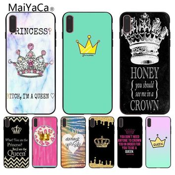 MaiYaCa Queen crown king Pattern tpu Soft Phone Accessories Cover Case for iPhone X 6 6S 7 7plus 8 8Plus 5 5S