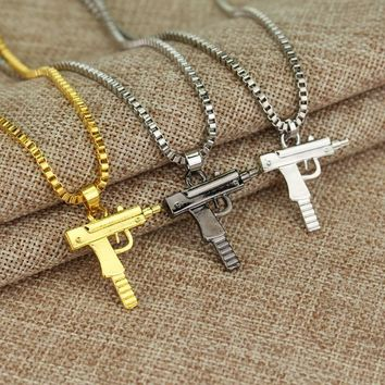 Gold Color Pistol Gun SUPREME Necklace Star Jewelry Men Hip Hop Dance Charm Franco Cha