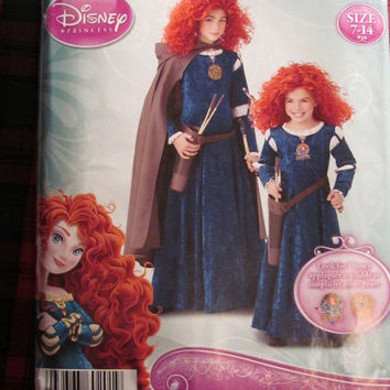 SALE Uncut Simplicity Sewing Pattern, 0201! Size 7-14 Girls/Kids/Children Brave Disney Princess Halloween Costume/Hooded Cape/Princess Dress