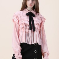 Ruffle Around Crepe Shirt in Pink