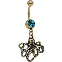 Coral Blue Anodized Antiqued Octopus Dangle Belly Ring