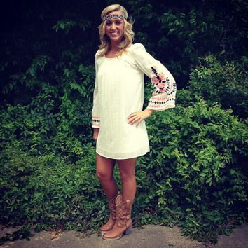 Embroidered Bell Sleeve Tunic Dress - Ivory