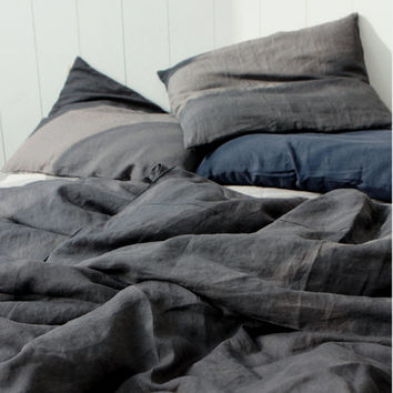 Washed Charcoal / Dark Gray Colored Premium Linen Soft Twin / Queen Size Bedding Set