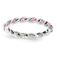 Sterling Silver Stackable Expressions Pink Sapphire Twist Eternity Ring