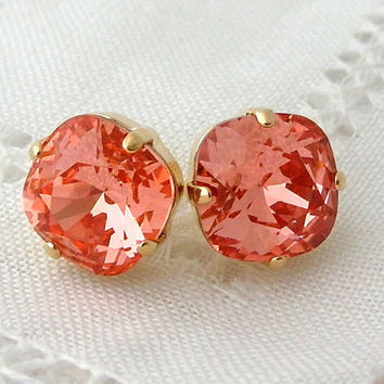 Peach pink coral crystal stud earrings, Bridesmaids jewelry, Swarovski stud earrings, Bridesmaids gift, Bridal earrings, 14k Gold earrings