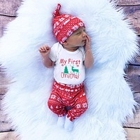 3pcs/set Cute Newborn Clothing Set Baby Boy Girls First Christmas Clothes Infant Romper Pants Hat Outfit