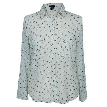 PEAPGQ9 Birds Repeat All-Over Women's Long Sleeve Button Up Shirt