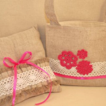 Flower Girl Basket and Ring Pillow Set Wedding Decoration  Ring pillow  Flower Basket  Rustic Wedding