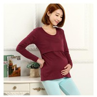Long Sleeve maternity nursing tops pregnancy breastfeeding tees Shirt clothes for pregnant women wear maternity Clothing