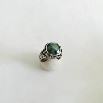 Fun BoHo, Gypsy Ring - Faceted Square Green Agate Gemstone, 925 Sterling Silver Filigree Style Setting - Boho Style Ring -  Ring Size 9