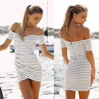 Dew shoulder stripe dress sexy = 5738899713