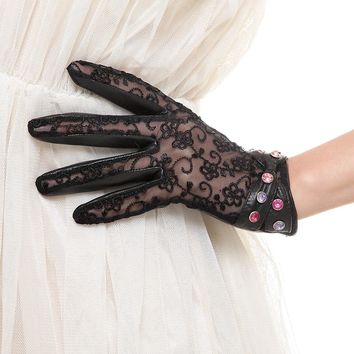 Free Shipping Women Gloves Fashion Diamond Genuine Leather Gloves Imported Lace Sunscreen Gloves CYW021