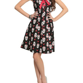 Day Of The Dead Skulls Black Lace-Up Dress by Jawbreaker