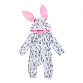Newborn Baby Rompers Girls Boys Bunny Ears Romper Long Sleeve Jumpsuit Autumn Cute Outfits Baby Clothes