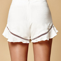 Honey Punch Lattice Trim Ruffle Soft Shorts at PacSun.com