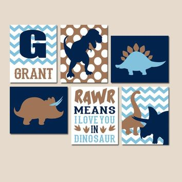 DINOSAUR Wall Art, Dinosaur Canvas or Prints, Theme Decor, Rawr Means I Love You, Baby Nursery Decor, Big Boy Bedroom Pictures, Set of 6
