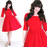 50s Dress / 50s Red Dress / Red Valentines Day Dress