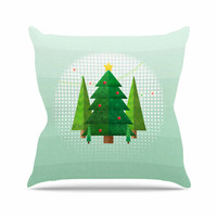 "Noonday Design ""Geometric Christmas Tree"" Green White Outdoor Throw Pillow"