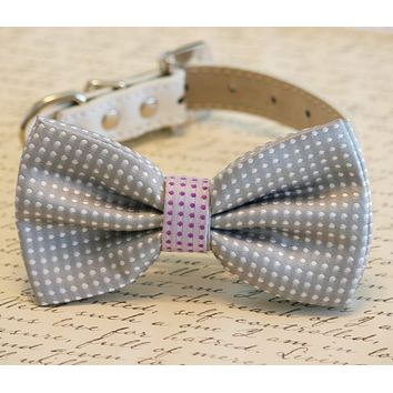 Gray Polka dots dog bow tie, Gray and purple Bow Pet wedding Accessory