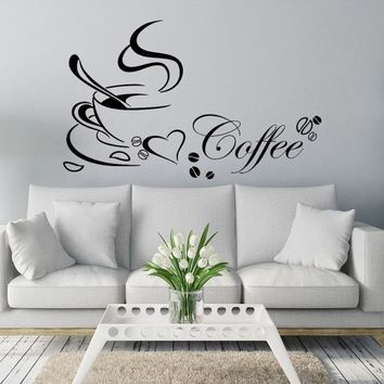 Fashion Vinyl Wall Sticker Coffe with heart  DIY Removable Art Wall Mural For Home Kitchen Home quote Restaurant Decor