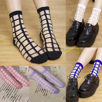 COCOTEKK 2 Pairs/lot Women Summer Novelty Transparent grid socks Glass Crystal Silk Cool Mesh Knit Sheer soks