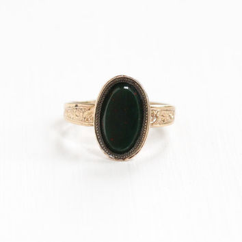Antique Victorian 10k Rose Gold Filled Bloodstone Ring - Vintage Late 1800s Size 8 3/4 Green Red Oval Chalcedony Gem Fine Statement Jewelry