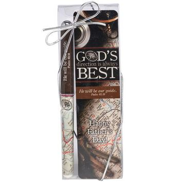 God's Direction Is Always Best Pen & Bookmark Gift Set Father's Day