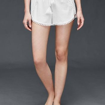 Embroidered-trim woven shorts | Gap
