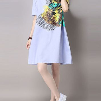 Casual Round Neck Printed Cotton/Linen Glamorous Shift Dress