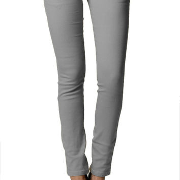 Smooth Grey Color Denim Skinny Jeans