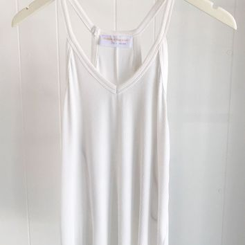 Basic Ribbed V-neck Tank- White
