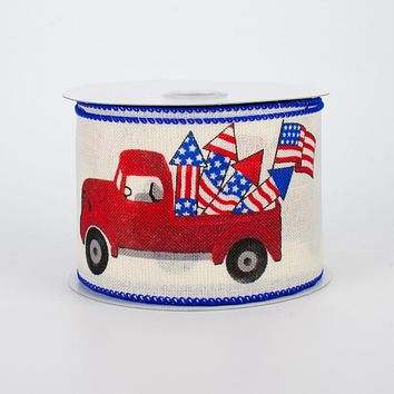 "Patriotic Vintage Truck on Cream Ribbon 2.5"" wide x 10 yards"